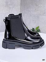 40 р. Ботинки женские деми черные лаковые на низком ходу низкий ход демисезонные из натурального лака, фото 1