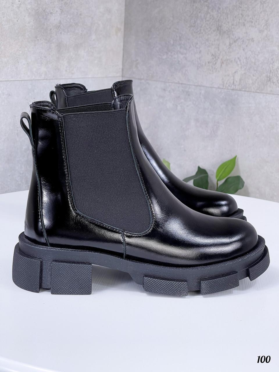 41 р. Ботинки женские деми черные лаковые на низком ходу низкий ход демисезонные из натурального лака