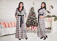 Женское нарядное платье MAXI с кожаным воротником и поясом / батал / бежевое