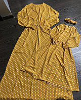 Комплект платьев из льна Family look мама и дочка