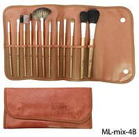 Набор натуральных кистей в коричневом футляре Lady Victory, 12 шт.LDV ML-mix-4B /4-42