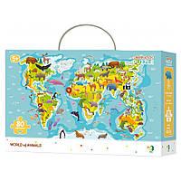 """Пазл """"Мапа світу тваринки"""", 80 елементів DoDo (4820198240301)"""
