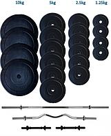Комплект Штанга + Гантели разборные битумные 107 кг Premium (набор), фото 1