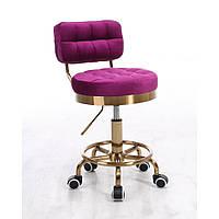 Парикмахерское кресло стул мастера HR636K велюр фуксия золотая основа, фото 1