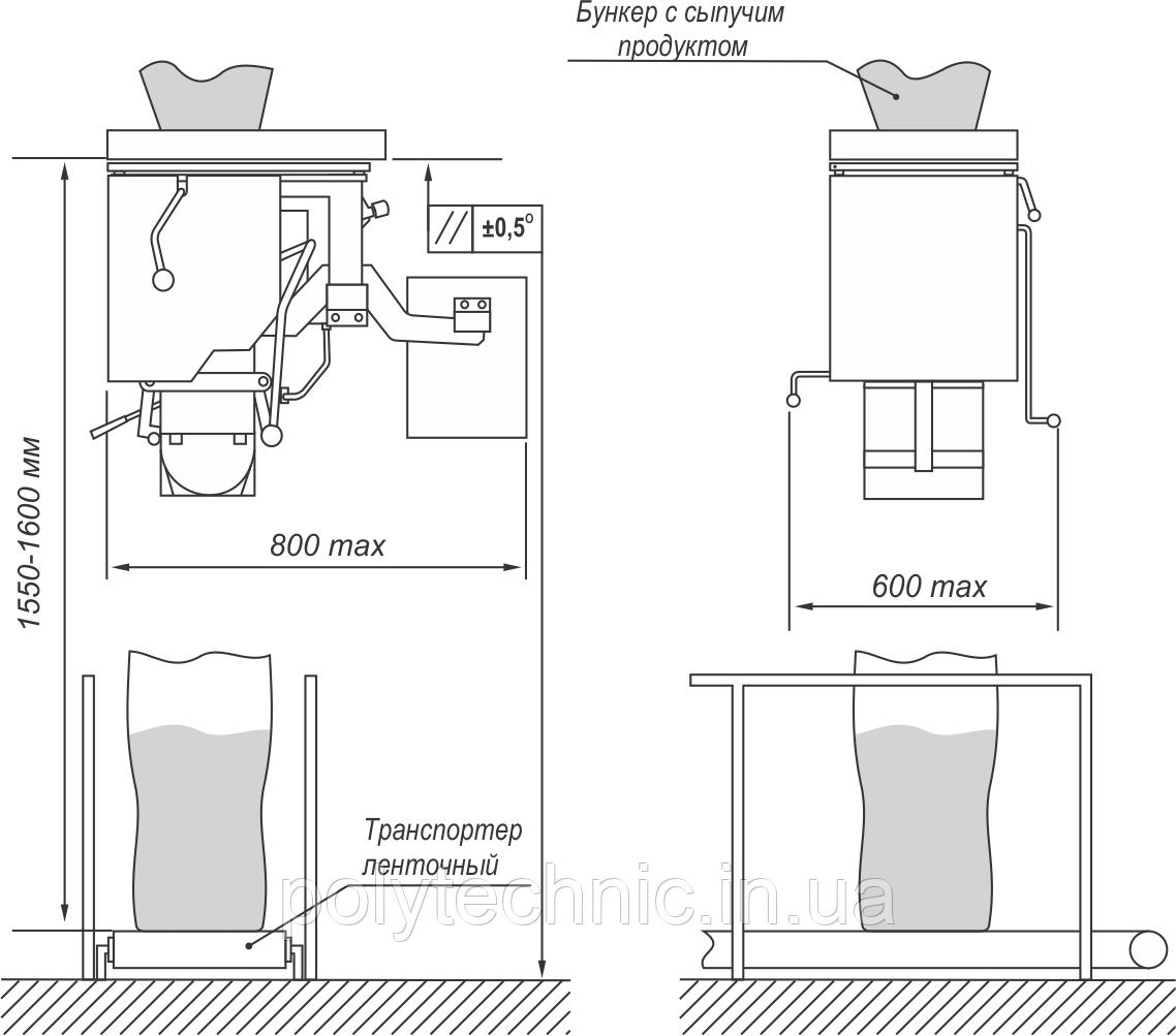 Дозатор весовой ДВСВ-М для фасовки сыпучих веществ в пакеты и мешки открытого типа