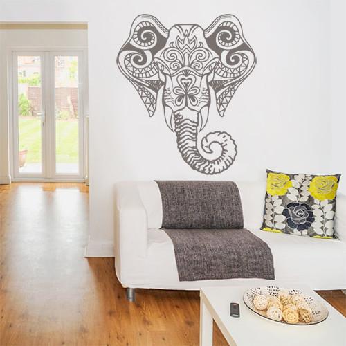 Интерьерная виниловая наклейка на обои Ганеша (индийские узоры слон самоклеющаяся пленка) матовая 840х970 мм