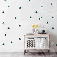 Набор виниловых наклеек на обои Елочки (новогодние наклейки деревья)