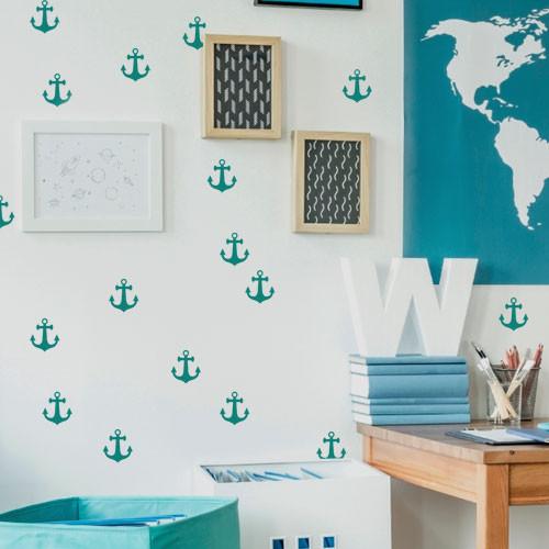 Интерьерные наклейки набор Морские якоря (наклейки в детскую морская тематика)