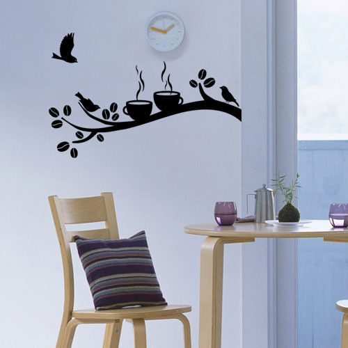Виниловая интерьерная наклейка на кухню Время кофе (наклейки ветки птицы)