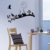 Вінілова інтер'єрна наклейка на кухню Час кави (наклейки гілки птиці декор кухні стікери на стіну оракал