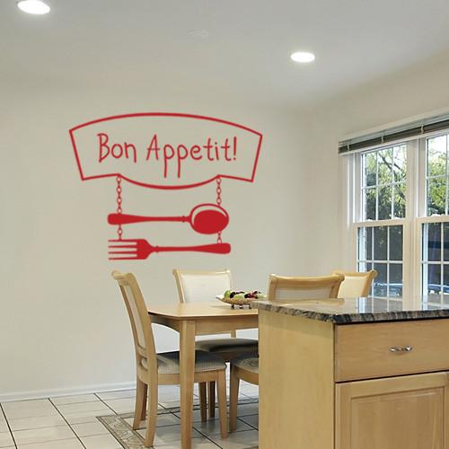 Интерьерная виниловая наклейка Приятного аппетита (наклейки на кухню, самоклеющаяся пленка)