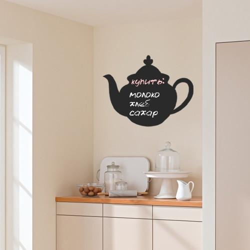 Интерьерная наклейка-доска для мела Умный чайник (кухонная наклейка для надписей, декор кухни, самоклеющаяся)