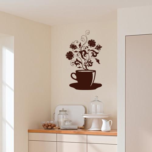 Интерьерная виниловая декоративная наклейка на кухню Ароматы кофе (самоклейка, оракал)
