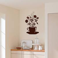 Інтер'єрна вінілова декоративна наклейка на кухню Аромати кави (самоклейка оракал) матова