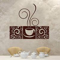 Інтер'єрна вінілова наклейка на кухню Вінтажна кава (самоклеюча плівка оракал) матова 600х535 мм