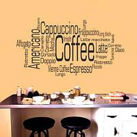 Интерьерная наклейка надпись Виды кофе (наклейка на кухню со словами кофе) матовая 1000х550 мм