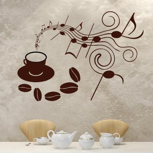 Интерьерная декоративная наклейка на кухню Музыка кофе (самоклейка винил оракал декор стен стикеры на обои) матовая 800х570 мм