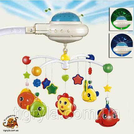 Карусель мобиль с проектором звездного неба на добраніч, карусель на кроватку с ночником солнечный зайчик, фото 2