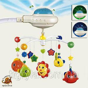 Карусель мобиль с проектором звездного неба на добраніч, карусель на кроватку с ночником солнечный зайчик