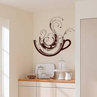 Інтер'єрна вінілова наклейка на кухню Кавова фантазія (самоклеюча плівка оракал кави чашка стікер) матова