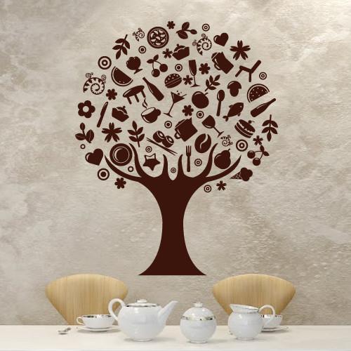 Интерьерная виниловая наклейка на кухню Чудо-дерево (кухонная наклейка кофе, декор стен, самоклеющаяся пленка)