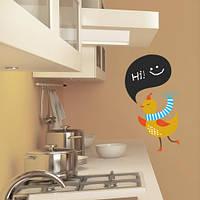Доска для мела наклейка Деловая птица (самоклеющаяся пленка для рисования мелом)