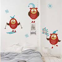 Новогодняя виниловая наклейка Озорные совы (наклейки новый год, декор на стены, в детскую, снежинки)