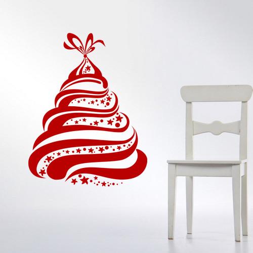 Новогодняя интерьерная наклейка Елочка в подарок (Елка, стикеры на стены, обои, новогодний декор)