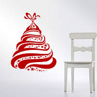 Новогодняя интерьерная наклейка Елочка в подарок (Елка, стикеры на стены, обои, новогодний декор), фото 1