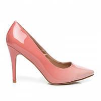 Женские лаковые туфли лодочки на среднем каблуке