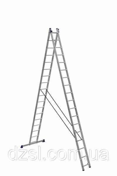 Лестница алюминиевая двухсекционная универсальная (усиленная) 2 х 18 ступеней