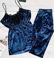 Женская велюровая пижама майка+лосины, теплые пижамы.