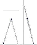 Драбина алюмінієва двосекційна універсальна (посилена) 2 х 18 ступенів, фото 7