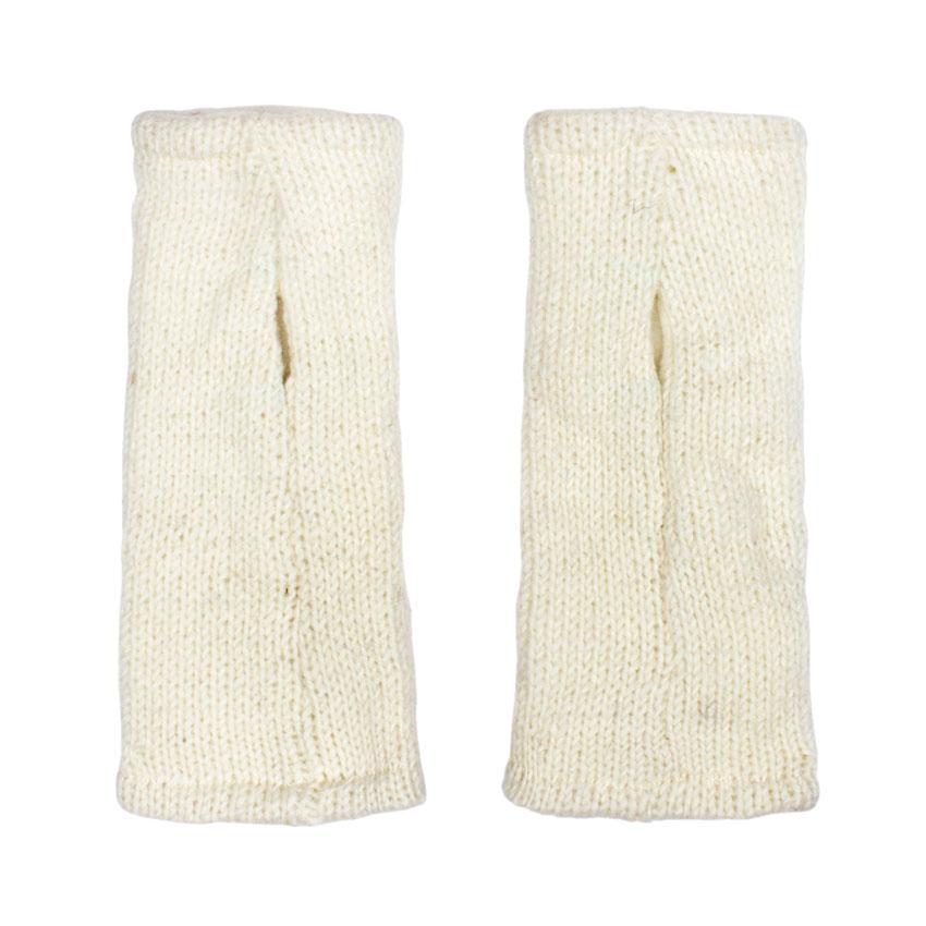 Перчатки митенки белые из шерсти