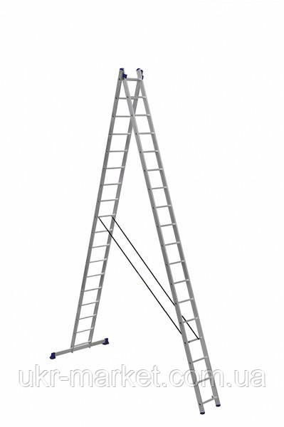 Драбина алюмінієва двосекційна універсальна (посилена) 2 х 18 ступенів