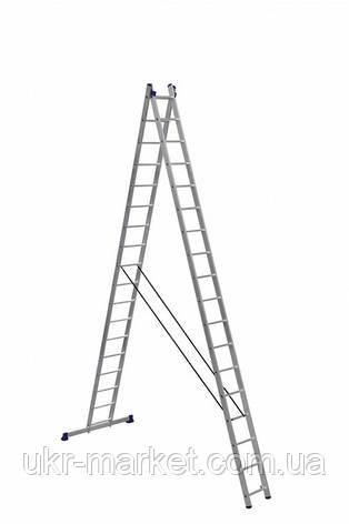 Драбина алюмінієва двосекційна універсальна (посилена) 2 х 18 ступенів, фото 2