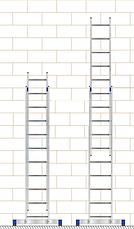 Драбина алюмінієва двосекційна універсальна (посилена) 2 х 18 ступенів, фото 3