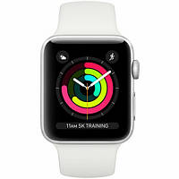 Смарт-годинник Apple Watch Series 3 38mm Silver Aluminium Case with White Sport Band (MTEY2)