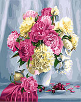 Картина по номерам. Rainbow Art Розовые пионы и вишни GX26464-RA