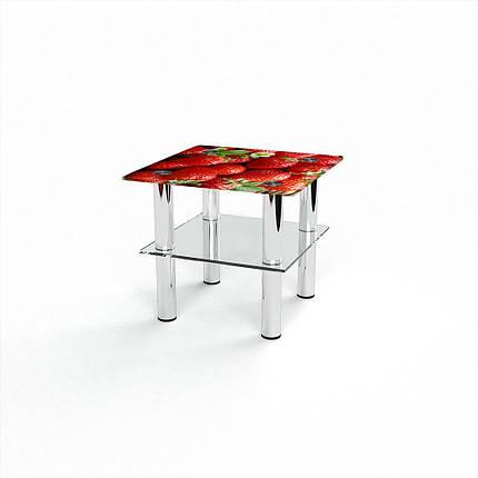 Стеклянный  стол журнальный столик из стекла БЦ Стол Квадратный с полкой с фотопечатью Strawberry, фото 2