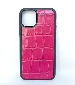 Чехол CaZe для iPhone 11 Pro с тиснением под Крокодила розовый крупная фактура