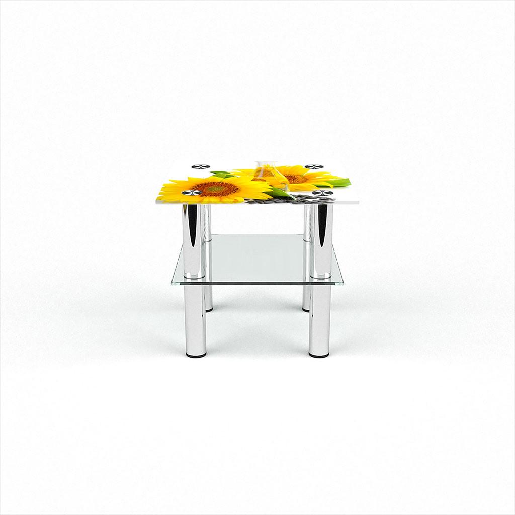 Стеклянный  стол журнальный столик из стекла БЦ Стол Квадратный с полкой с фотопечатью Sunflower