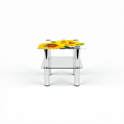 Стеклянный  стол журнальный столик из стекла БЦ Стол Квадратный с полкой с фотопечатью Sunflower, фото 2