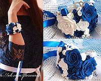 """""""Бело-синие розы"""" браслет с цветами ручной работы, фото 1"""