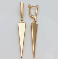 Модні сережки, Треуголка висота 48 мм ширина 7 мм, позолота 18К, ювелірна біжутерія Fallon