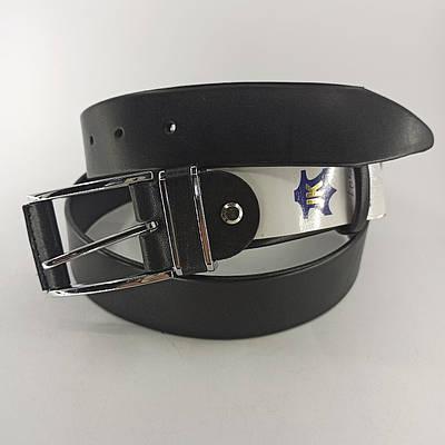 Мужской кожаный брючный ремень с классической пряжкой 110 см
