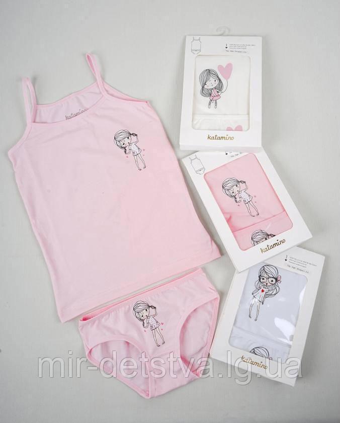 Комплект (майка+трусики) для девочки TM Katamino оптом, Турция р.7-8 лет (122-128 см)