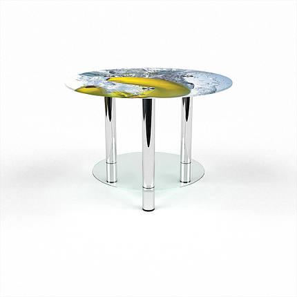 Стеклянный  стол журнальный столик из стекла БЦ Стол Круглый с полкой с фотопечатью Banana, фото 2