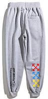 Мужские спортивные Штаны Off-White temperature(разноцветные кресты) Grey, фото 1