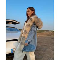 Стильная Парка женская джинсовая с натуральным мехом
